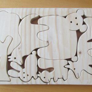 Bosdieren houten puzzel in passende houder 2