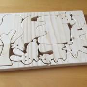 Bosdieren houten puzzel in passende houder
