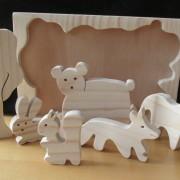 Bosdieren houten puzzel close up