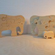 Houten olifanten met jong
