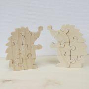 Houten puzzel egel twee stuks