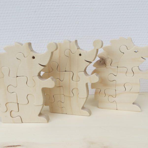 Houten puzzel egel drie stuks